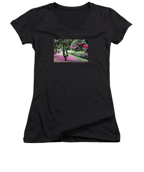 Women's V-Neck T-Shirt (Junior Cut) featuring the photograph Rhododendrons Blooming Villa Carlotta Italy by Tanya Searcy