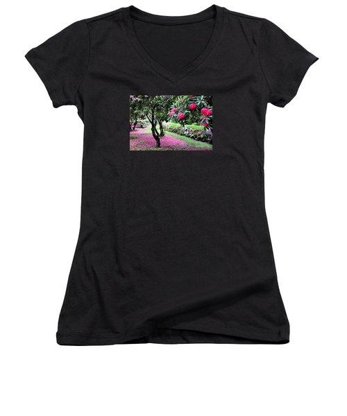 Rhododendrons Blooming Villa Carlotta Italy Women's V-Neck T-Shirt