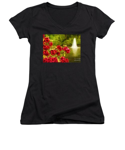 Painted Rhododendrons Fountain In Pond   Women's V-Neck T-Shirt