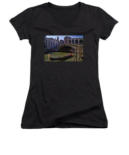 Rialto Bridge In Venice Italy Women's V-Neck T-Shirt