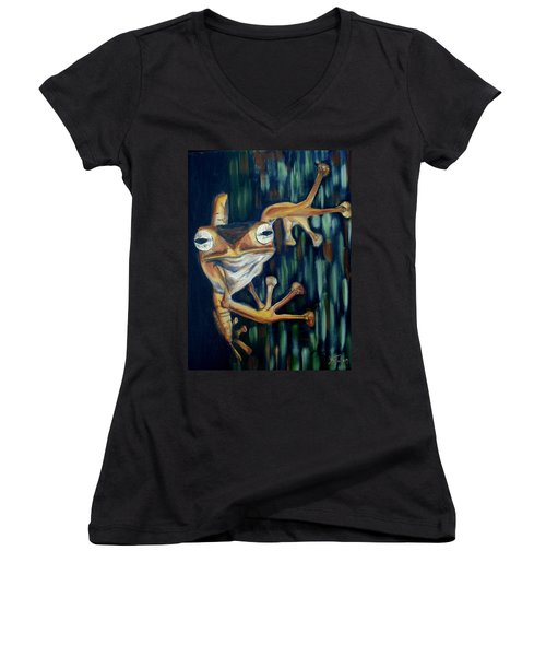 Women's V-Neck T-Shirt (Junior Cut) featuring the painting Ribbit by Donna Tuten