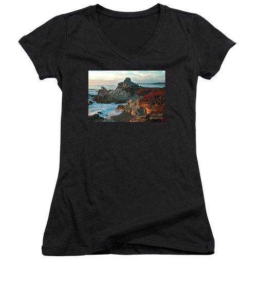 Ribera Beach Sunset Carmel California Women's V-Neck T-Shirt