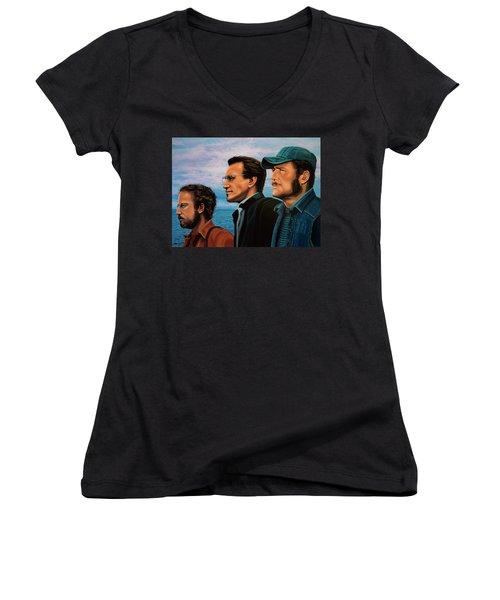 Jaws With Richard Dreyfuss, Roy Scheider And Robert Shaw Women's V-Neck T-Shirt (Junior Cut) by Paul Meijering