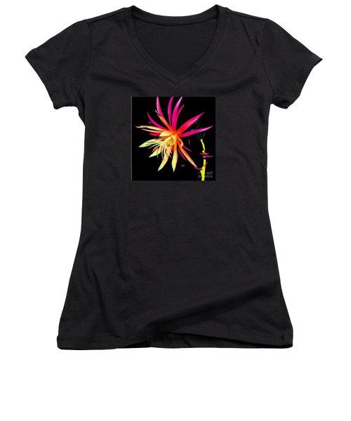 Rick Rack Fern In Black Women's V-Neck T-Shirt