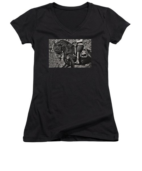 Rider And Steed Dance Women's V-Neck T-Shirt (Junior Cut) by Wes and Dotty Weber
