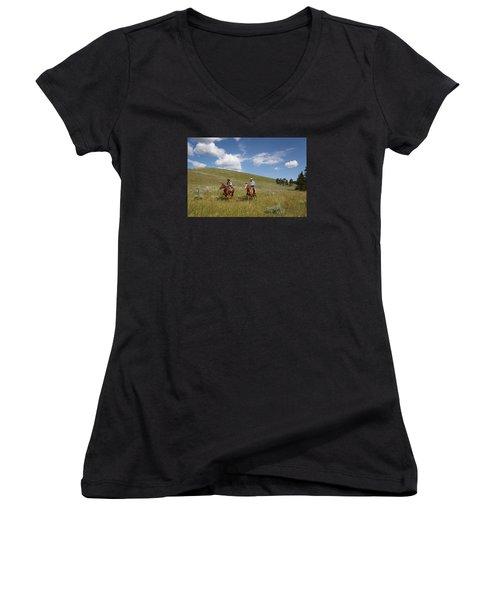 Riding Fences Women's V-Neck T-Shirt (Junior Cut) by Diane Bohna