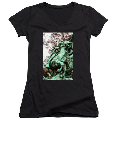 Women's V-Neck T-Shirt (Junior Cut) featuring the photograph Riding Tight by Christopher Holmes