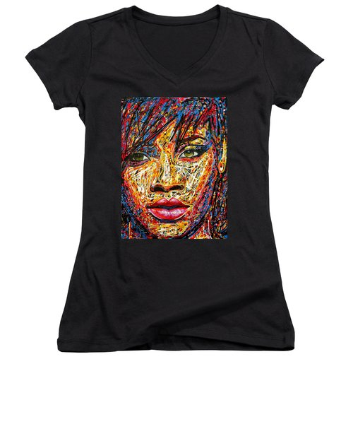 Rihanna Women's V-Neck T-Shirt (Junior Cut) by Angie Wright