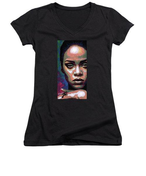 Rihanna Women's V-Neck T-Shirt (Junior Cut) by Maria Arango