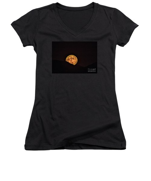 Rising Supermoon Women's V-Neck T-Shirt (Junior Cut) by Robert Bales