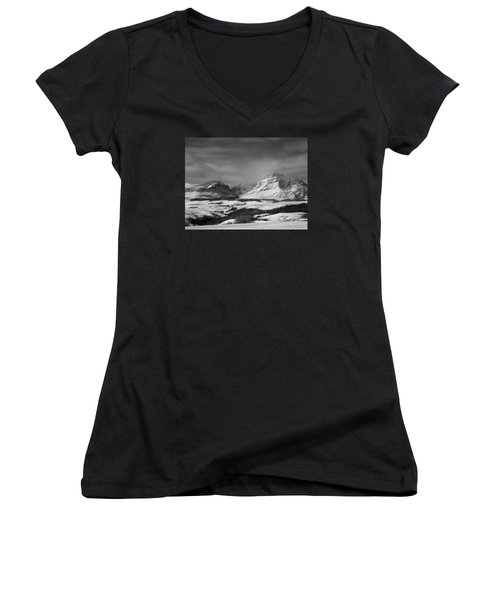 Rising Wolf Mountain- Winter - Black And White Women's V-Neck (Athletic Fit)