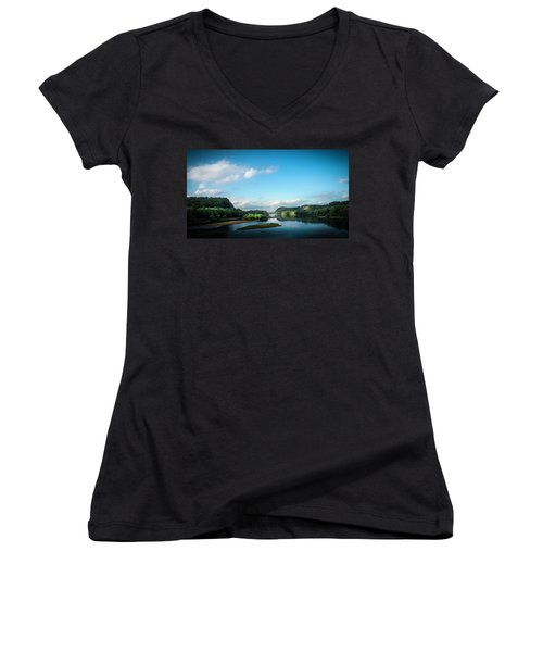 Women's V-Neck T-Shirt (Junior Cut) featuring the photograph River Islands by Marvin Spates
