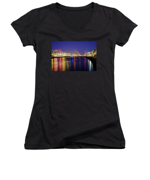 River Liffey In Dublin At Dusk Women's V-Neck