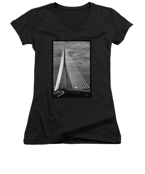 Women's V-Neck T-Shirt (Junior Cut) featuring the photograph River Suir Bridge. by Terence Davis