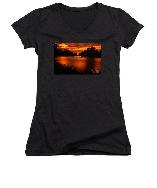 River Sunset 2 Women's V-Neck