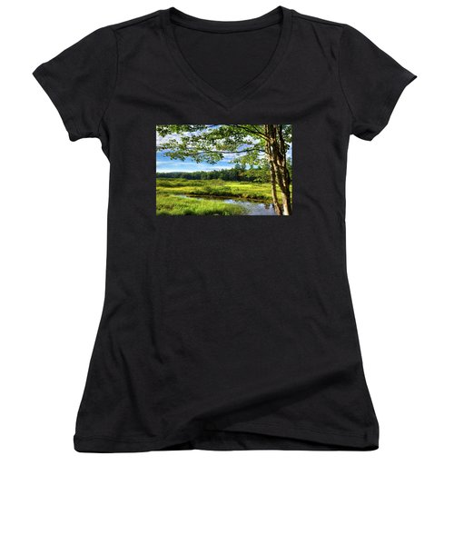 Women's V-Neck T-Shirt (Junior Cut) featuring the photograph River Under The Maple Tree by David Patterson