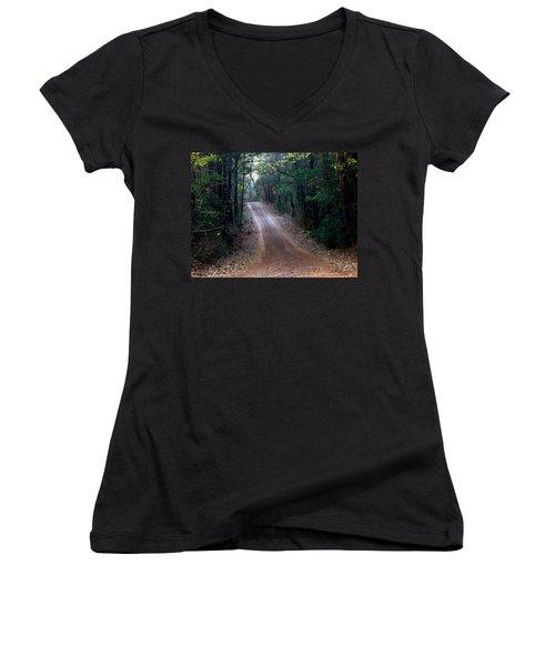 Women's V-Neck T-Shirt (Junior Cut) featuring the photograph Road Not Taken by Betty Northcutt