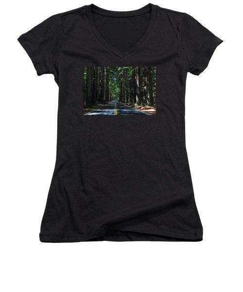 Road To Mendocino Women's V-Neck T-Shirt