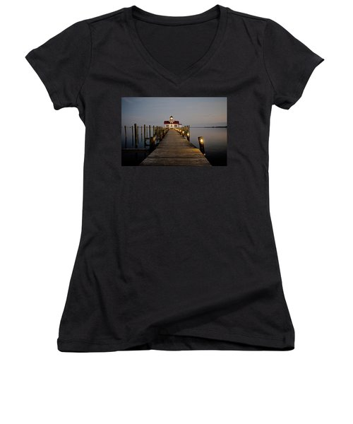 Roanoke Marshes Lighthouse Women's V-Neck T-Shirt (Junior Cut) by David Sutton