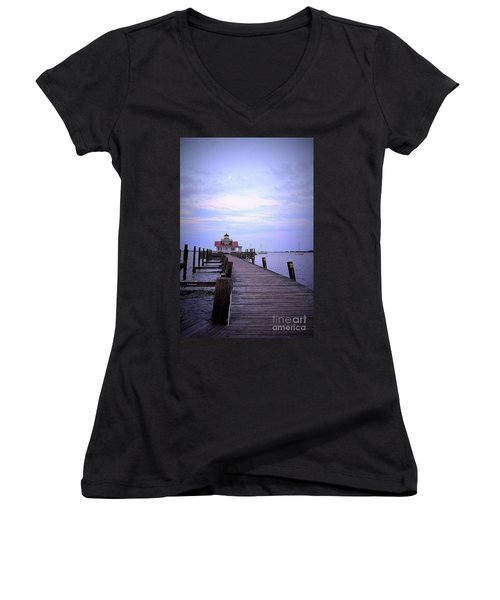 Full Moon Over Roanoke Marshes Lighthouse Women's V-Neck T-Shirt (Junior Cut) by Shelia Kempf