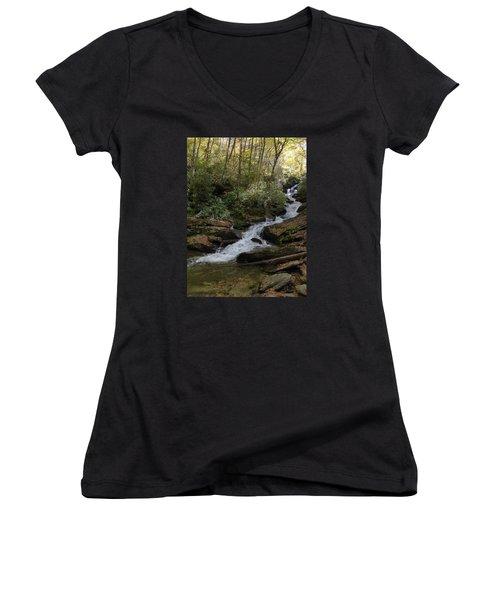 Women's V-Neck T-Shirt (Junior Cut) featuring the photograph Roaring Fork Falls - October 2015 by Joel Deutsch