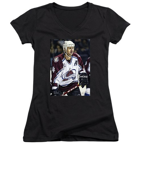 Women's V-Neck T-Shirt (Junior Cut) featuring the photograph Rob Blake 1 by Don Olea