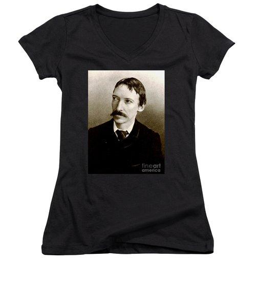 Women's V-Neck T-Shirt (Junior Cut) featuring the photograph Robert Louis Stevenson by Pg Reproductions