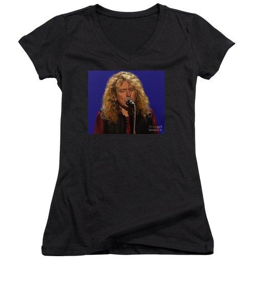 Robert Plant 001 Women's V-Neck (Athletic Fit)