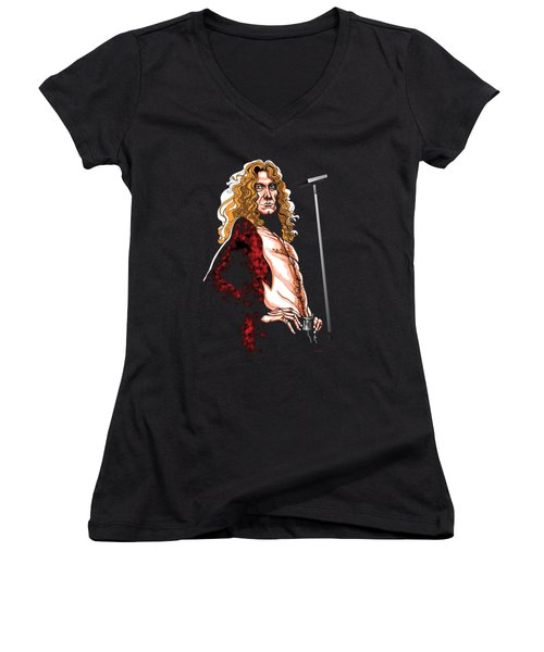 Robert Plant Of Led Zeppelin Women's V-Neck T-Shirt (Junior Cut) by GOP Art