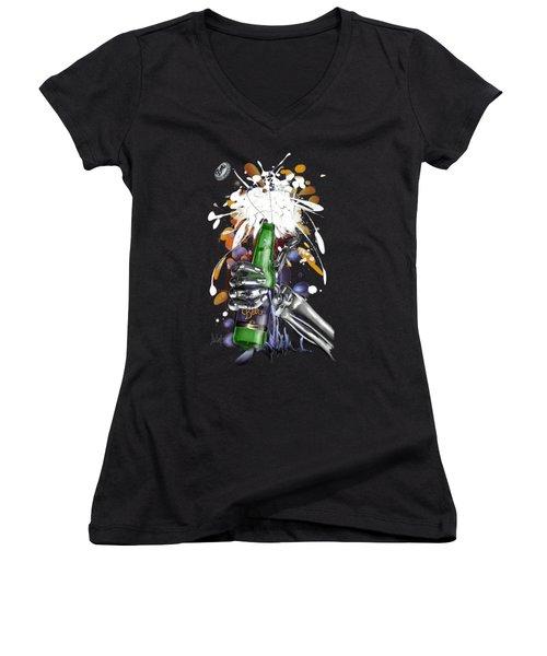 Robo Beer Women's V-Neck T-Shirt
