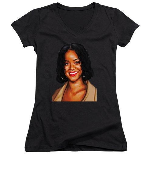 Robyn Rihanna Fenty Canvas  Women's V-Neck T-Shirt
