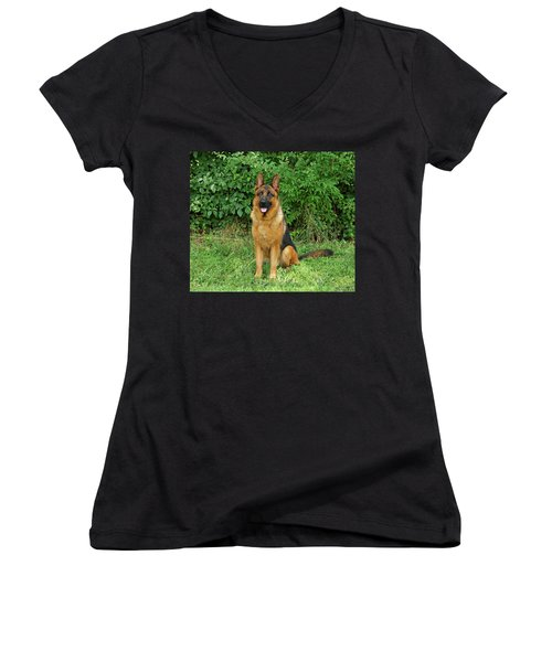 Women's V-Neck T-Shirt (Junior Cut) featuring the photograph Rocco Sitting by Sandy Keeton