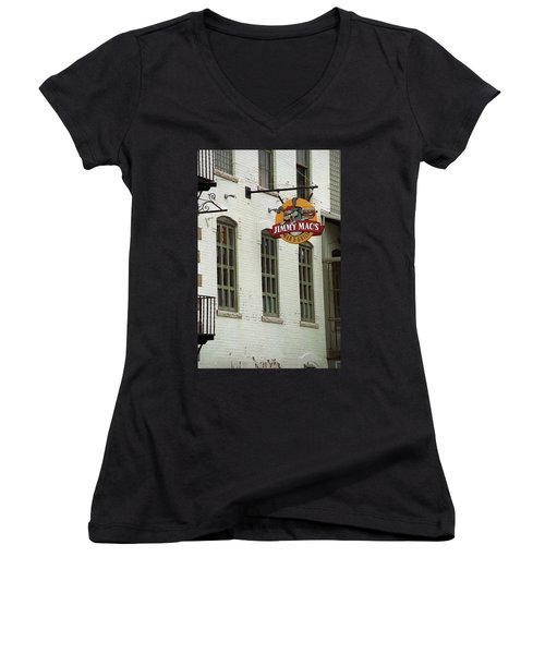 Women's V-Neck T-Shirt (Junior Cut) featuring the photograph Rochester, New York - Jimmy Mac's Bar 3 by Frank Romeo