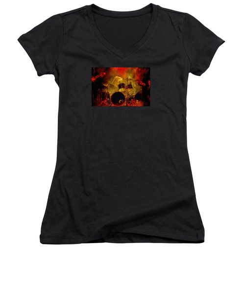 Rock And Roll Drum Solo Women's V-Neck T-Shirt (Junior Cut) by Louis Ferreira