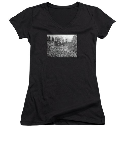 Women's V-Neck T-Shirt (Junior Cut) featuring the drawing Rock Beach by John Stuart Webbstock