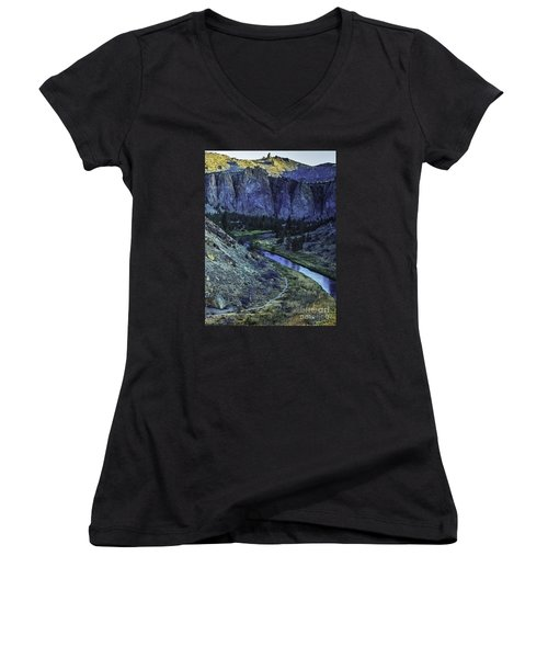 Women's V-Neck T-Shirt (Junior Cut) featuring the photograph Rock Climbing Mecca by Nancy Marie Ricketts