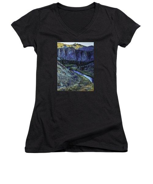 Rock Climbing Mecca Women's V-Neck T-Shirt (Junior Cut) by Nancy Marie Ricketts