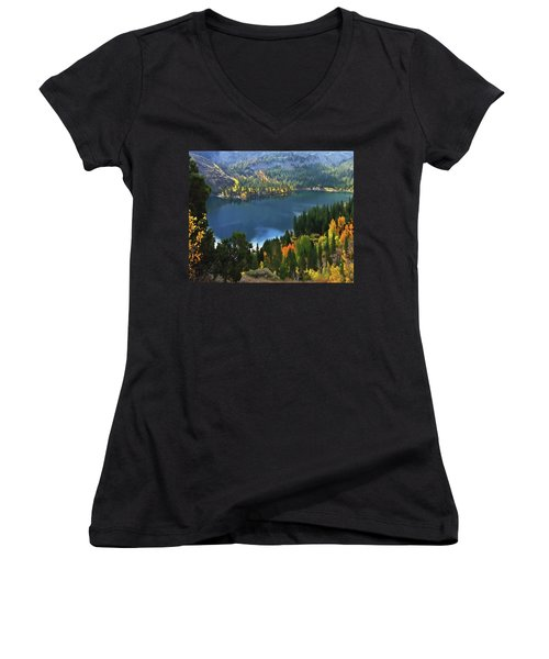 Rock Creek Lake In Fall Women's V-Neck (Athletic Fit)