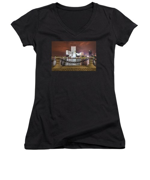 Rock Hall And The North Coast Women's V-Neck T-Shirt (Junior Cut) by Brent Durken