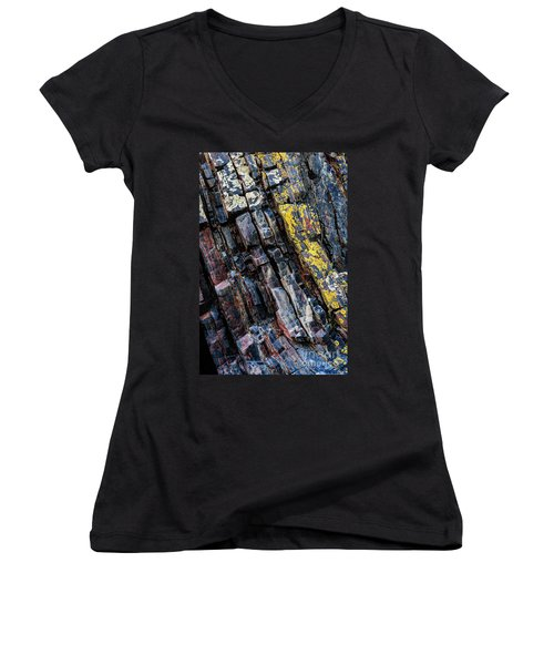 Women's V-Neck T-Shirt featuring the photograph Rock Pattern Sc02 by Werner Padarin