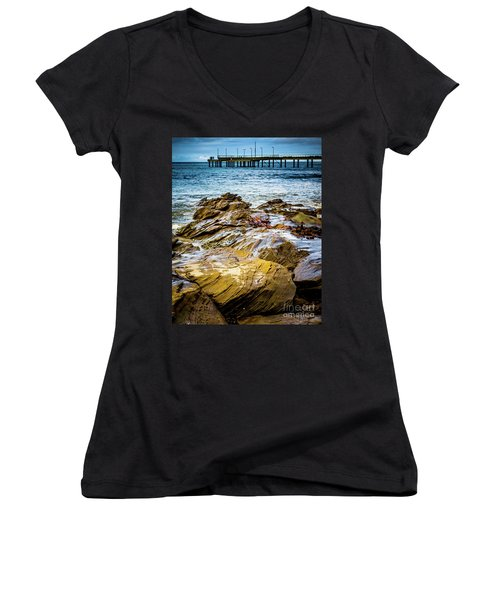 Women's V-Neck T-Shirt (Junior Cut) featuring the photograph Rock Pier by Perry Webster