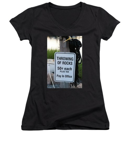 Rock Throwing Charge Women's V-Neck