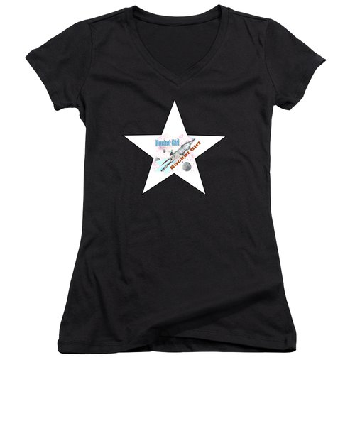 Rocket Girl With Star Women's V-Neck T-Shirt (Junior Cut) by Tom Conway
