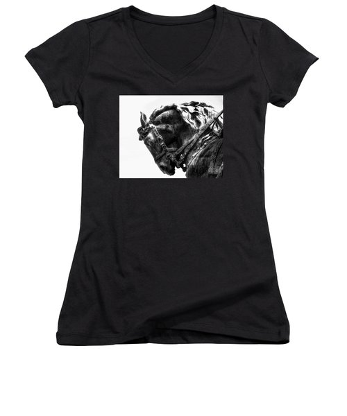 Women's V-Neck featuring the photograph Rocking Horse by AJ Schibig
