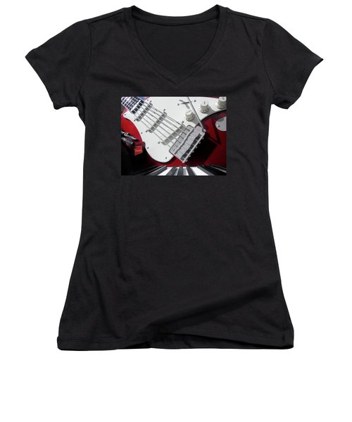 Women's V-Neck T-Shirt (Junior Cut) featuring the photograph Rock'n Roller Coaster Aerosmith by Juergen Weiss