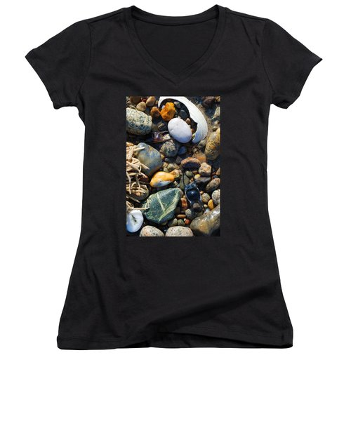 Rocks And Shells On Sandy Neck Beach Women's V-Neck
