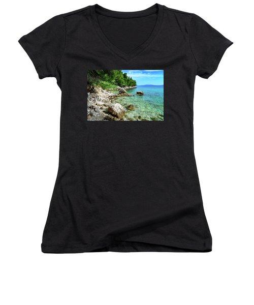 Rocky Beach On The Dalmatian Coast, Dalmatia, Croatia Women's V-Neck