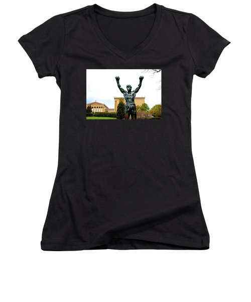 Women's V-Neck T-Shirt (Junior Cut) featuring the photograph Rocky I by Greg Fortier