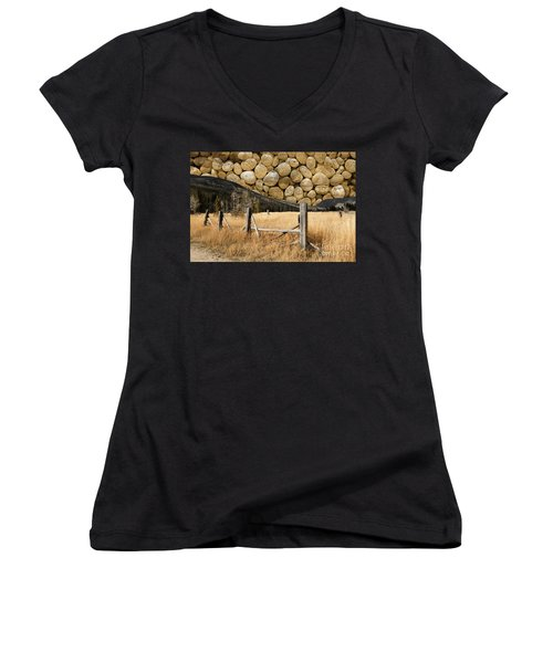 Women's V-Neck T-Shirt (Junior Cut) featuring the photograph Rocky Mountain Sky by John Stephens
