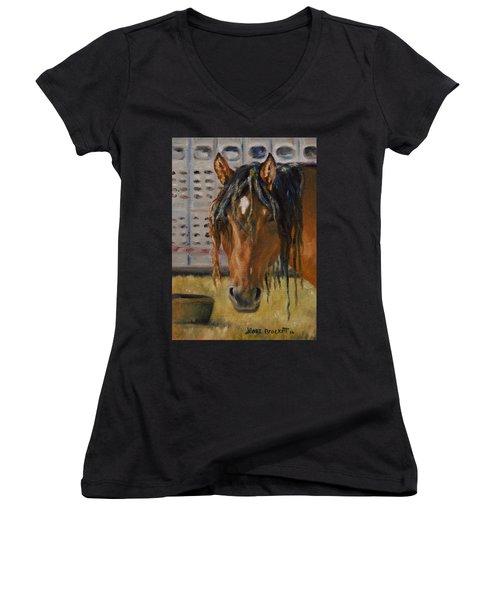 Rodeo Horse Women's V-Neck T-Shirt (Junior Cut) by Lori Brackett